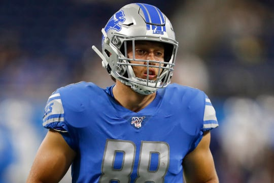 Detroit Lions tight end T.J. Hockenson (88) warms up before the game against the New England Patriots Aug. 8 at Ford Field.