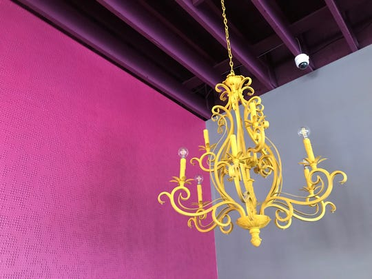 A yellow popping against a pink wall and purple ceiling hints at the colorful dining room coming to Baby's. The diner opens in late summer 2019 in the Fall Creek Place neighborhood of Indianapolis.