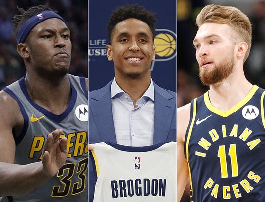 Myles Turner (from left), Malcolm Brogdon and Domantas Sabonis of the Indiana Pacers