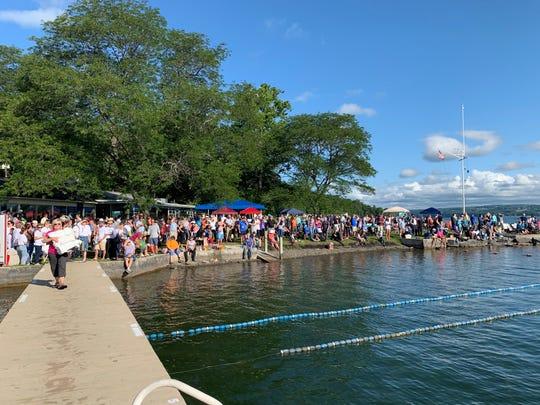 Women who participate in Women Swimmin' for Hospicare swim 1.2 miles across Cayuga Lake.