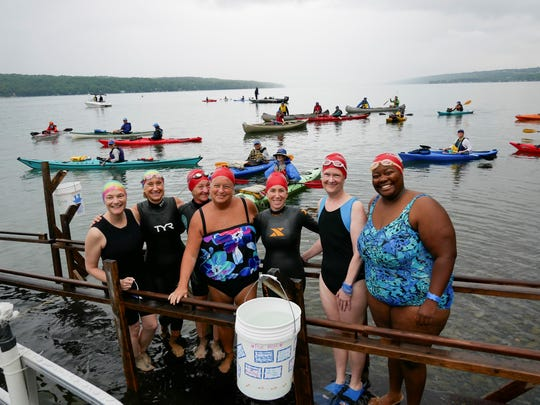 Women Swimmin had 340 swimmers at Cayuga Lake in August 2019. There were also thirty swimmers who decided to their swim in laps at YMCAs in Tompkins and Cortland counties or the YWCA in Cortland.