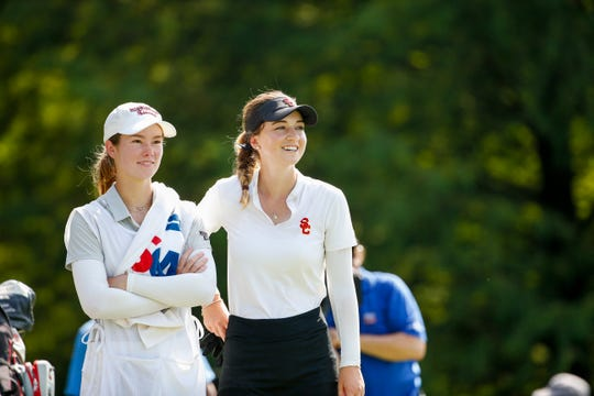 Gabriela Ruffels with her caddie, Blair Stockett, at the 35th tee during the final round at the 2019 U.S. Women's Amateur at Old Waverly Golf Club in West Point, Miss. on Sunday, Aug. 11, 2019.  (Copyright USGA/Steven Gibbons)