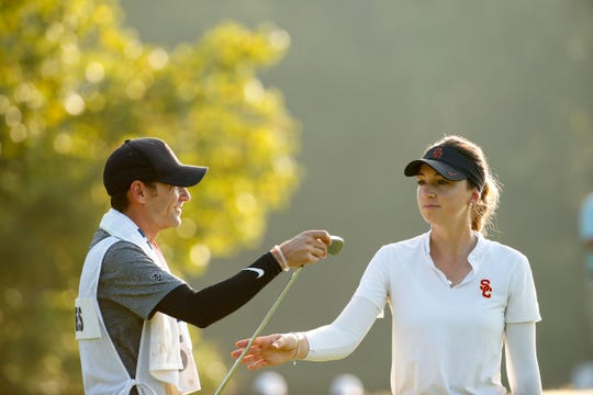 Gabriela Ruffels with her caddie, Justin Silverstein, at the second hole during the final round at the 2019 U.S. Women's Amateur at Old Waverly Golf Club in West Point, Miss. on Sunday, Aug. 11, 2019.  (Copyright USGA/Steven Gibbons)