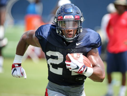 Ole Miss running back Snoop Cooner runs during fall camp in Oxford, MS, on Wednesday, Aug. 7, 2019.  Photo by Petre Thomas/Ole Miss Athletics  Instagram and Twitter: @OleMissPix   Buy Photos at RebelWallArt.com