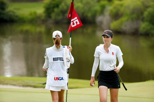 Gabriela Ruffels after winning the 33rd hole with a birdie during the final round at the 2019 U.S. Women's Amateur at Old Waverly Golf Club in West Point, Miss. on Sunday, Aug. 11, 2019.  (Copyright USGA/Steven Gibbons)