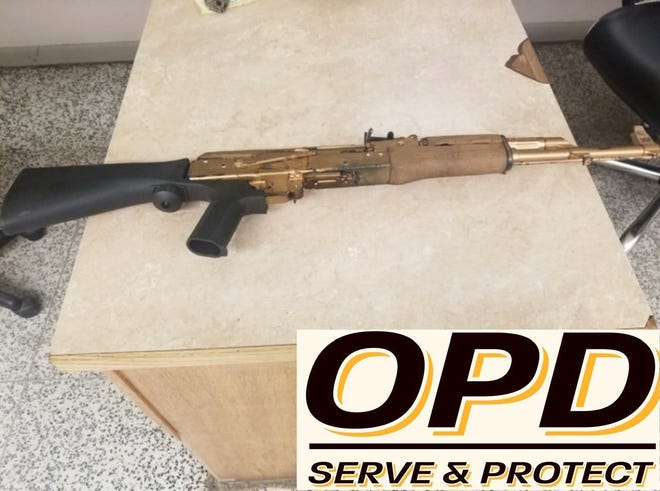 An AK-47 assault-style rifle confiscated from a 17-year-old by Opelousas Police.