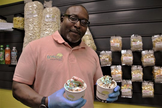Rodney Robertson is the owner and operator of Pop'd Sensations Gourmet Treats, located in Marion Centre Mall. The business has been open for three years and serves up gourmet popcorn and a new item, rolled ice cream.