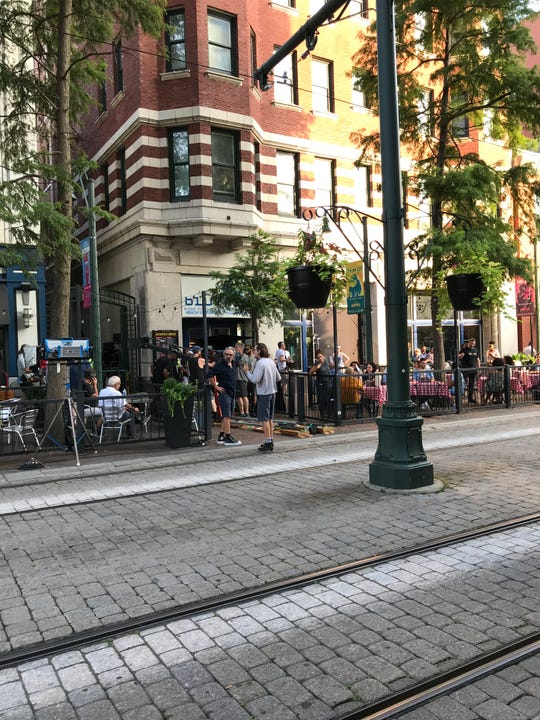 Members of the crew film 'Bluff City Law' in Downtown Memphis
