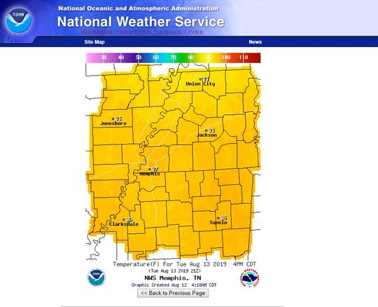 National Weather Service shows temperatures for Tuesday, August 13 at about 4 p.m.