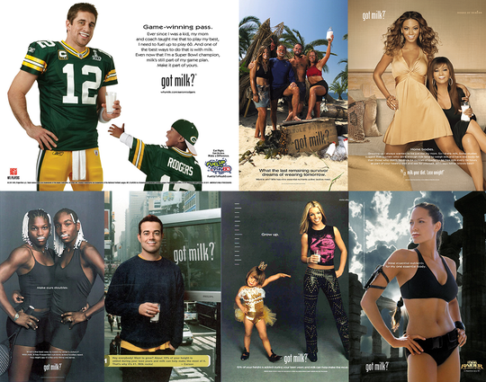 "Celebrity ads promoting the dairy industry's ""Got Milk?"" campaign."