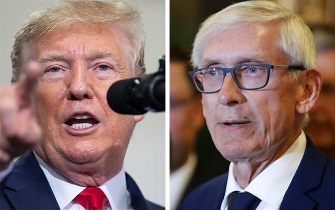 President Donald Trump, left, and Wisconsin Gov. Tony Evers.