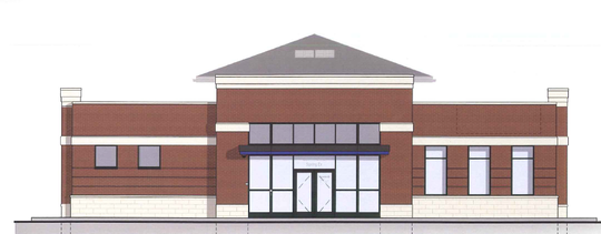 This architectural rendering shows the 3,000-square-foot Chase Bank building that will be built at 209 W. Silver Spring Drive in 2020.