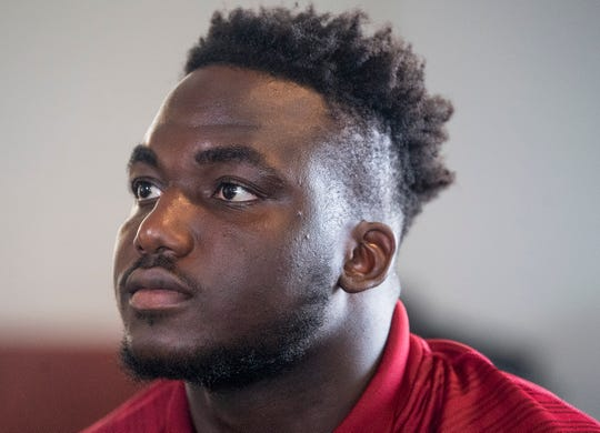 Troy defensive tackle Will Choloh, Jr., (5) as Troy University football media day is held on the campus in Troy, Ala., on Saturday August 10, 2019.