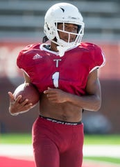 Troy wide receiver Kaylon Geiger (1) as Troy University holds a football scrimmage on campus in Troy, Ala., on Saturday August 10, 2019.