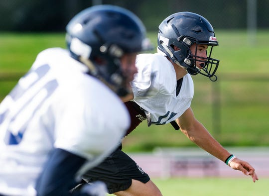 William Robertson as Montgomery Academy holds football practice at their campus in Montgomery, Ala., on Monday August 12, 2019.