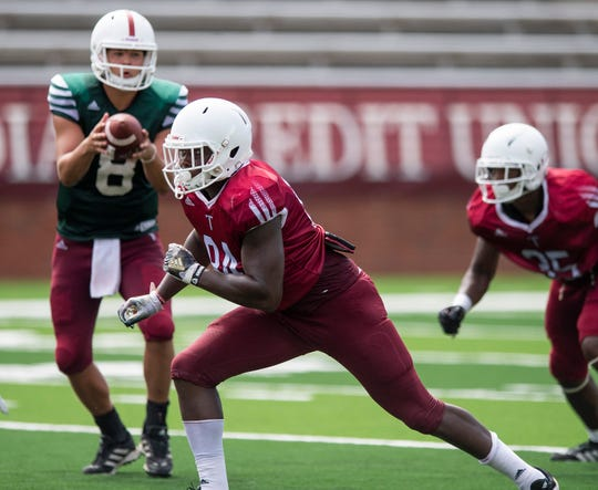Troy tight end AJ Lewis (84) as Troy University holds a football scrimmage on campus in Troy, Ala., on Saturday August 10, 2019.