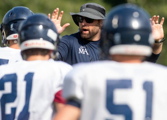 Head coach Gary Nelson as Montgomery Academy holds football practice at their campus in Montgomery, Ala., on Monday August 12, 2019.