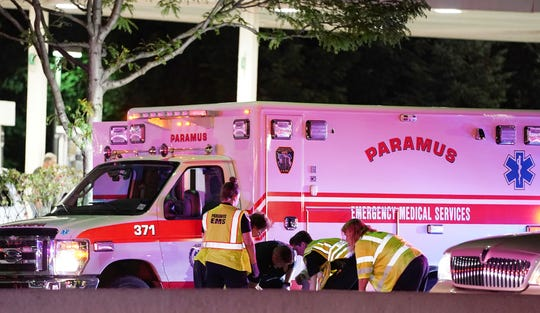 The scene where a pedestrian was struck by a vehicle and critically injured on westbound Route 4 near the BP Gas Station in Paramus, NJ around 9 p.m. on August 10, 2019.