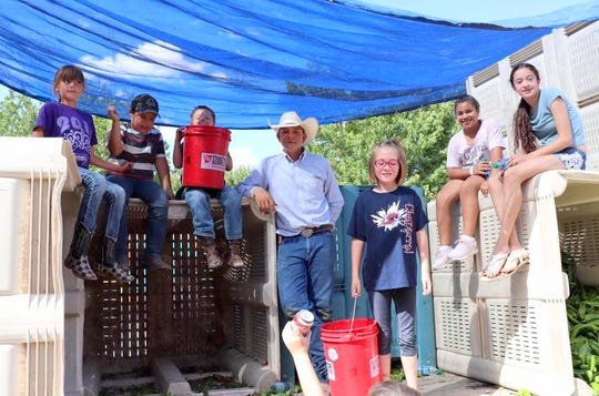 Luna County 4-Hers will be bucketing chile to roast. From left, are: Kehdahl Bingham, Jacob O'Toole, Trey Bingham, Hagan Miranda, Almarae Schultz, Jazmine Perea, and Trinity Ruebush