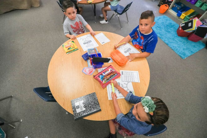 Children attend Adriana Hernandez's class at Highland Elementary School in Las Cruces on Monday, Aug. 12, 2019.