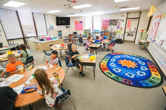 First graders in Adriana Hernandez's class at Highland Elementary School in Las Cruces, some of whom attended K-5 Plus this summer and some who did not, on Monday, Aug. 12, 2019.