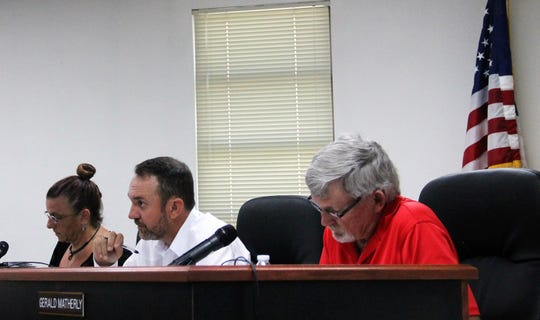 From left: Otero County Commission Lori Bies, Otero County Commission Chairman Couy Griffin and Otero County Commission Vice-Chairman Gerald Matherly at the Aug. 8 regular Otero County Commission meeting.