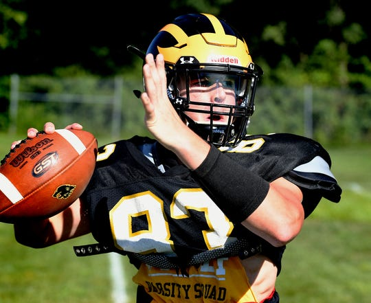 Red Lion quarterback Nic Shultz launches a pass during a practice at the school Monday, Aug. 12, 2019. Red Lion won a share of the York-Adams Division I title last season. Bill Kalina photo