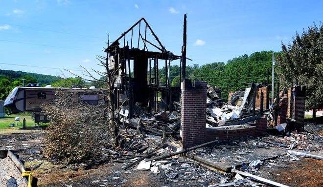 A shell of a residence on Hoke Road in North Codorus Township remains Monday, Aug. 12, 2019, after fire destroyed the home Sunday, Aug. 11. Bill Kalina photo