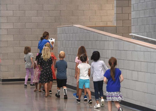 Images from the first day of school at the new Nick Poulakidas Elementary School in Reno. There are thee new schools in the Washoe County School District. The other two are Sky Ranch Middle School in Sparks and Desert Skies Middle School in Sun Valley.