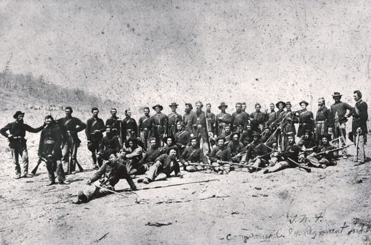 The 84th Indiana mustered into service on Sept. 3, 1862, in Richmond. This was the fifth local regiment formed in Wayne County. The men fought in thirteen major engagements, having left for the field with an aggregate of 949 officers and men, and returning with 349 men and 22 officers, suffering a staggering 39% loss, or almost four out of ten who did not return.