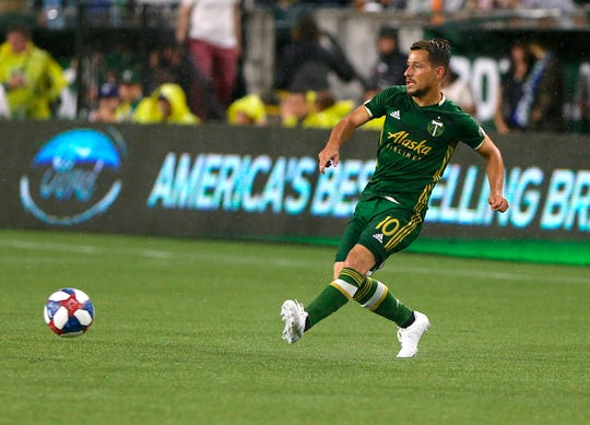 Portland Timbers' Sebastian Blanco passes the ball inside during the team's MLS soccer match against the Vancouver Whitecaps on Saturday, Aug. 10, 2019, in Portland, Ore.