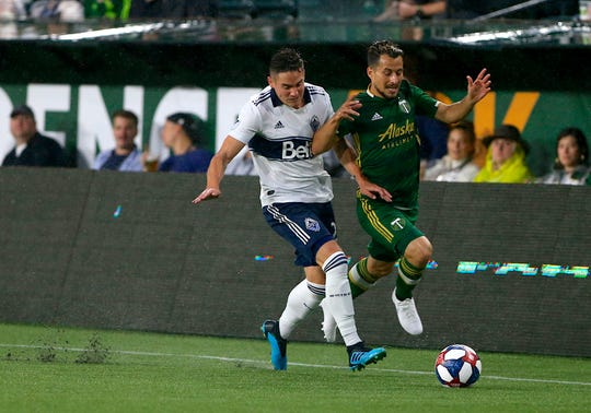 Portland Timbers' Sebastian Blanco, right, fights off Vancouver Whitecaps' Jake Nerwinski while pushing the ball up the field during an MLS soccer match Saturday, Aug. 10, 2019, in Portland, Ore.