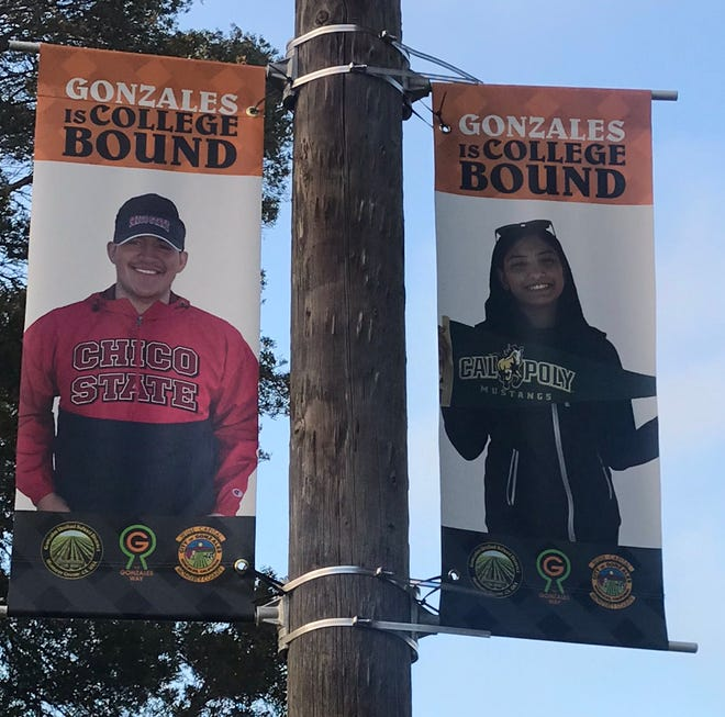 Banners raised in Central Park in Gonzales honor graduates of Gonzales High school heading to college this fall.