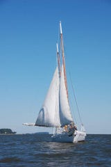 The Chesapeake Bay Maritime Museum's 1889 bugeye Edna Lockwood is pictured sailing the Miles River in St. Michaels, Maryland.