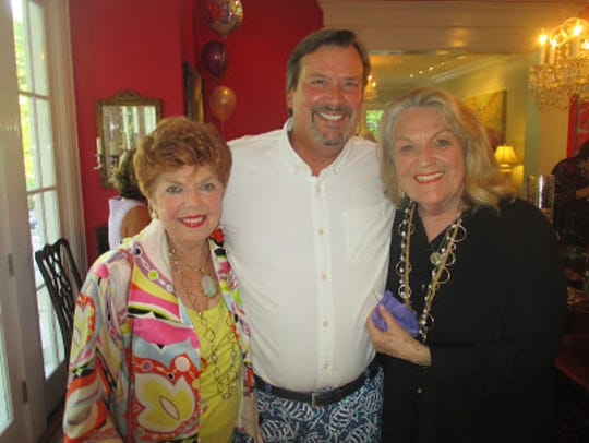Evelyn Quinn, Brian Flournoy, Elaine Crain at Glenn Flournoy's 90th birthday bash at the home of Flournoy and wife Jenny Flournoy. Among others there: Georgia Cook, Mary Wark, Sybil Patten and  Elizabeth Meadows. Paul L. Schuetze/The Times