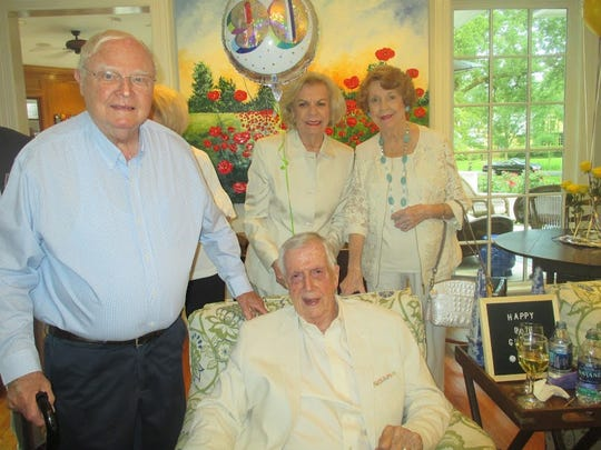 Birthday honoree Glenn Flournoy (clockwise, from seated), Horace Ladymon, Katherine Bicknell, Margaret Oden at Glenn's 90th birthday party.