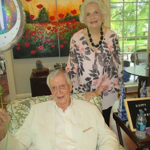 Birthday Boy Glenn Flournoy and wife Ginger Flournoy at Glenn's 90th birthday bash.
