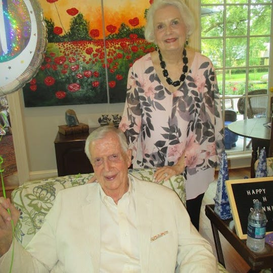 Birthday Boy Glenn Flournoy and wife Ginger Flournoy at Glenn's 90th birthday bash.