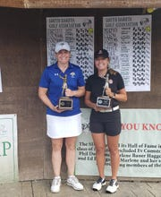 SDGA Amateur champion Katie Bartlett (right) and runner-up Maggie Murphy.