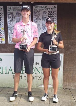 SDGA Amateur champions Jack Lundin (left) and Katie Bartlett.