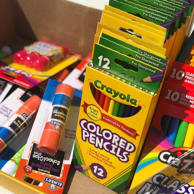 Colored pencils, glue sticks, markers and pens were among the free supplies given to students during the Goldie Sound Productions Back 2 School Drive on Saturday, Aug. 10, 2019