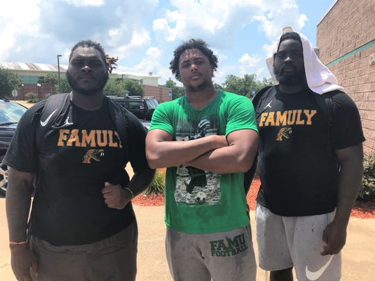 FAMU defensive linemen Jacques Penney (left), Cameron Burton and De'Montre Moore are the senior leaders of the unit. They're pushing for new levels with expected greatness in 2019.