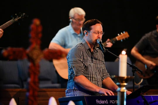 Killearn United Methodist Church Director of Contemporary Worship Ryan Durham sings during 9:30 a.m. service Sunday, August 11, 2019.