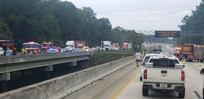 Westbound traffic on Interstate 10 was backed up Monday afternoon near Capital Circle Northwest.