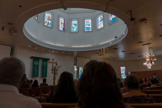 8/11/19 9:12:40 AM -- El Paso, TX  --   Father Michael Lewis speaks to congregation during a Sunday Mass at St. Pius X Church in El Paso few blocks away from Walmart shooting.-- Photo by Nick Oza, Gannett