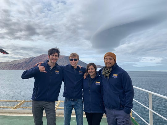 From left are Triston Millstone, Nik VanKeersbilck, Korenna Estes and Melvin Kim in the Arctic. The CSU Channel Islands students participated in an 18-day research journey aboard a Swedish icebreaker.