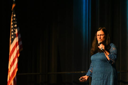 Interem Superintendent Tamara Ravalin addresses thousands of VUSD employees at the district's annual convocation ceremony on Aug. 12, 2019.