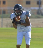 The Mission Oak High School football practices on Aug. 6, 2019 in Tulare.