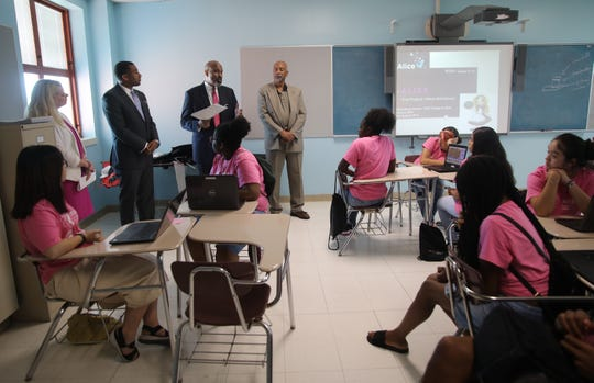 Founder and Executive Director, Northeast STEM Starter Academy at Mt. Vernon, Gerald Dennis, 2nd from left, introduces New York State Senator Jamaal T. Bailey, AT&T New York President Amy Kramer, and New York State Assemblyman J. Gary Pretlow during visit to the AT&T & NSSA Girls of Color Coding Camp at Benjamin Turner Middle School in Mount Vernon Aug. 9, 2019.