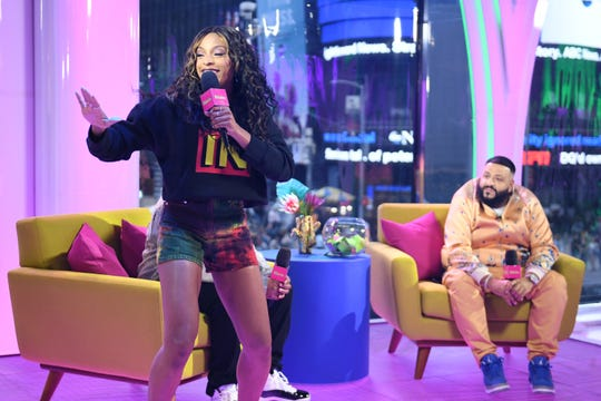"NEW YORK, NEW YORK - MAY 17: Jamila Mustafa speaks onstage with DJ Khaled as ""MTV Presents: Khaled Con,"" a DJ Khaled-hosted fan event in MTV's Times Square Studio, celebrating the release of ""Father Of Asahd"" at MTV Studios on May 17, 2019 in New York City."